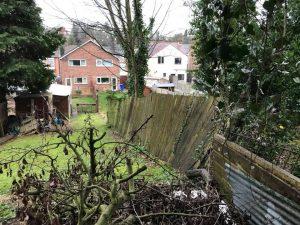 Broken garden fance